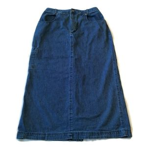 "Long maxi Denim Skirt L Fits M ? 30"" Waist modest"